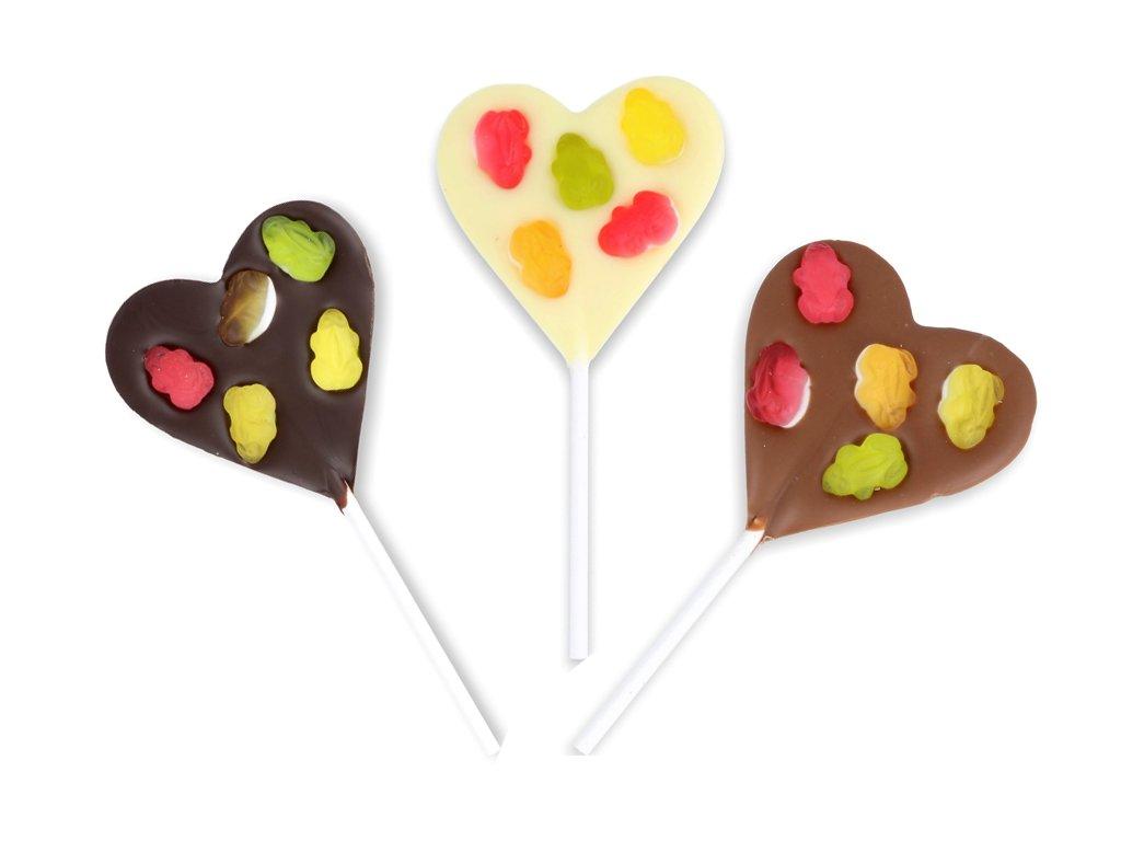 Čokoládové srdíčkové lízátko - želé žabičky