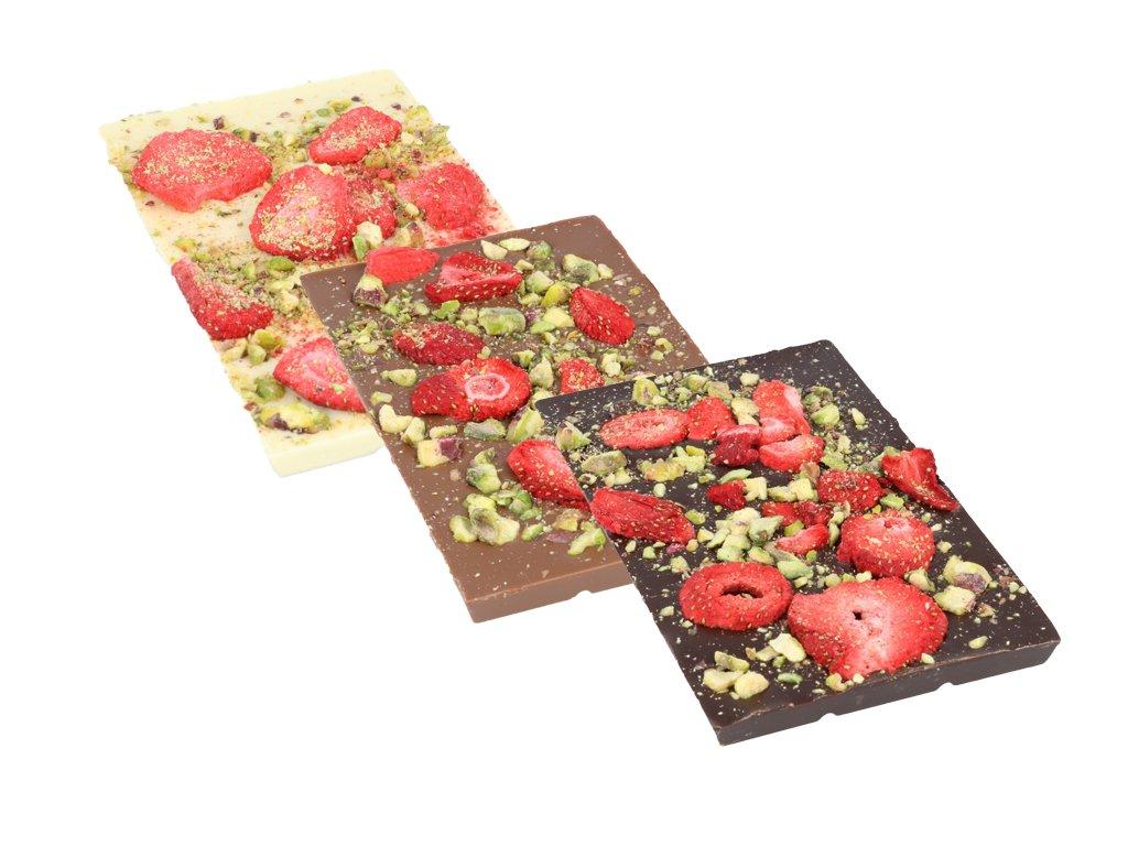 Stogramovka - pistácie + mrazem sušené jahody