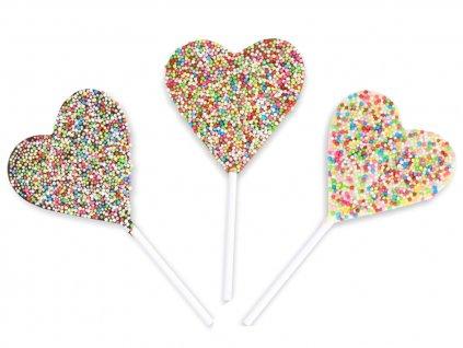 Čokoládové srdíčkové lízátko - confetti