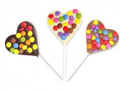 Čokoládové srdíčkové lízátko - lentilky