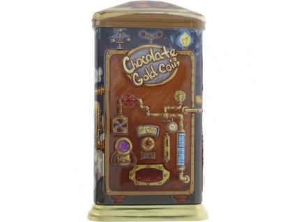 AR plechovka s pravou belgickou čokoládou - Parní stroj se zlatými mincemi