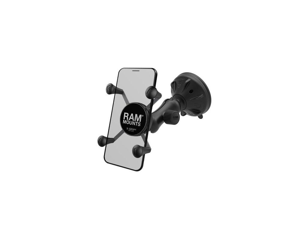 kompletní sestava univerzálního držáku mobilního telefonu X-Grip s přísavkou na sklo, rameno 70 mm, RAM Mounts
