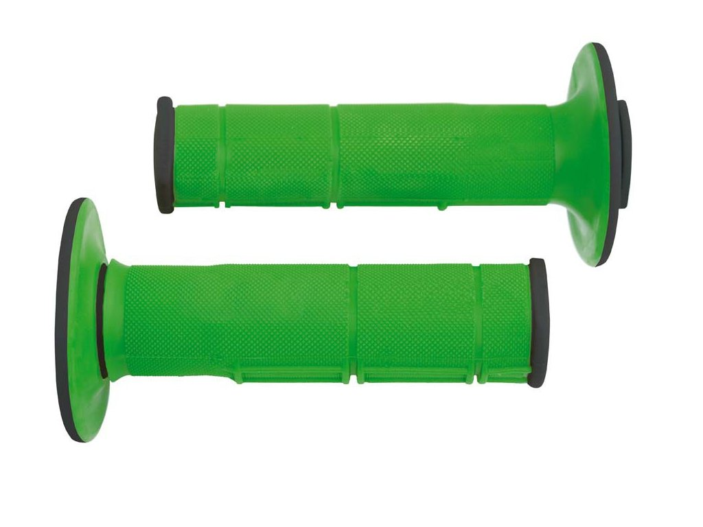 gripy Racing (dvouvrstvé, měkké), RTECH (zeleno-černé, pár, délka 116 mm)
