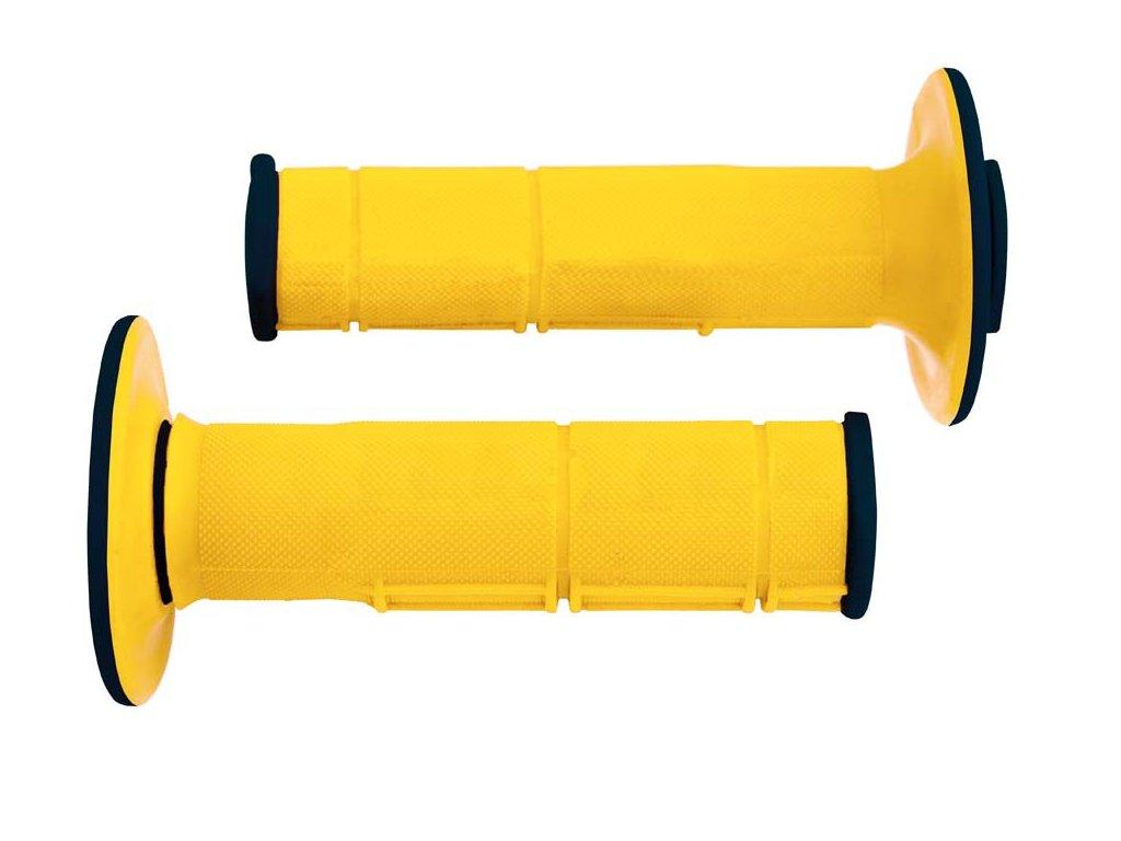 gripy Racing (dvouvrstvé, měkké), RTECH (žluto-černé, pár, délka 116 mm)