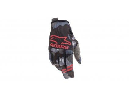 rukavice RADAR 2021, ALPINESTARS, dětské (šedá camo/červená fluo)