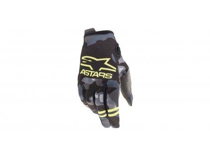 rukavice RADAR 2021, ALPINESTARS, dětské (šedá camo/žlutá fluo)