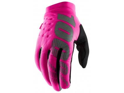 rukavice BRISKER, 100% dámské (růžová/černá)