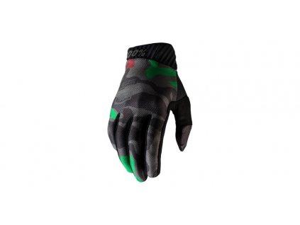 rukavice RIDEFIT, 100% (army zelená/černá)