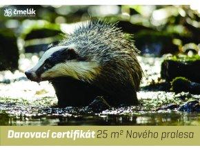 Certifikát pralesní - 25 m2 - Jezevec