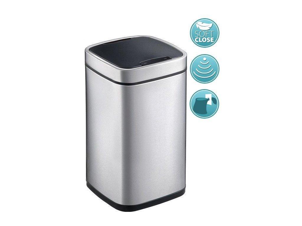 PERFECT bezdotykový odpadkový koš 12l, Soft Close, nerez mat