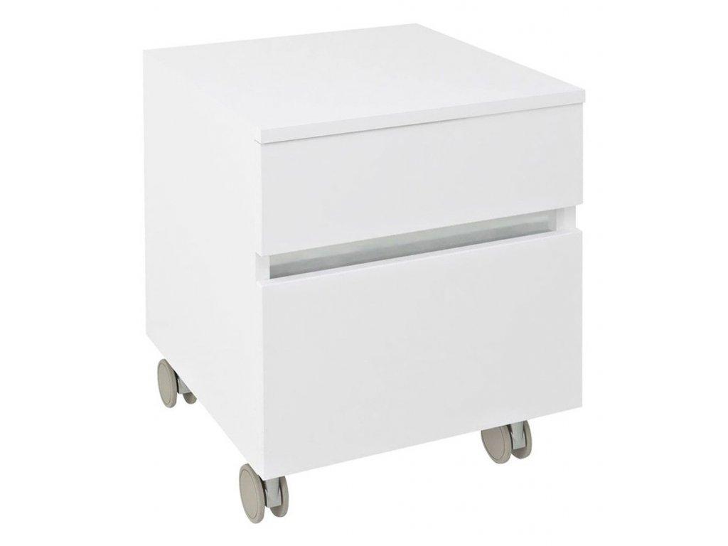 AVICE skříňka na kolečkách, 2x zásuvka 45x57x48,5cm, bílá (AV063)