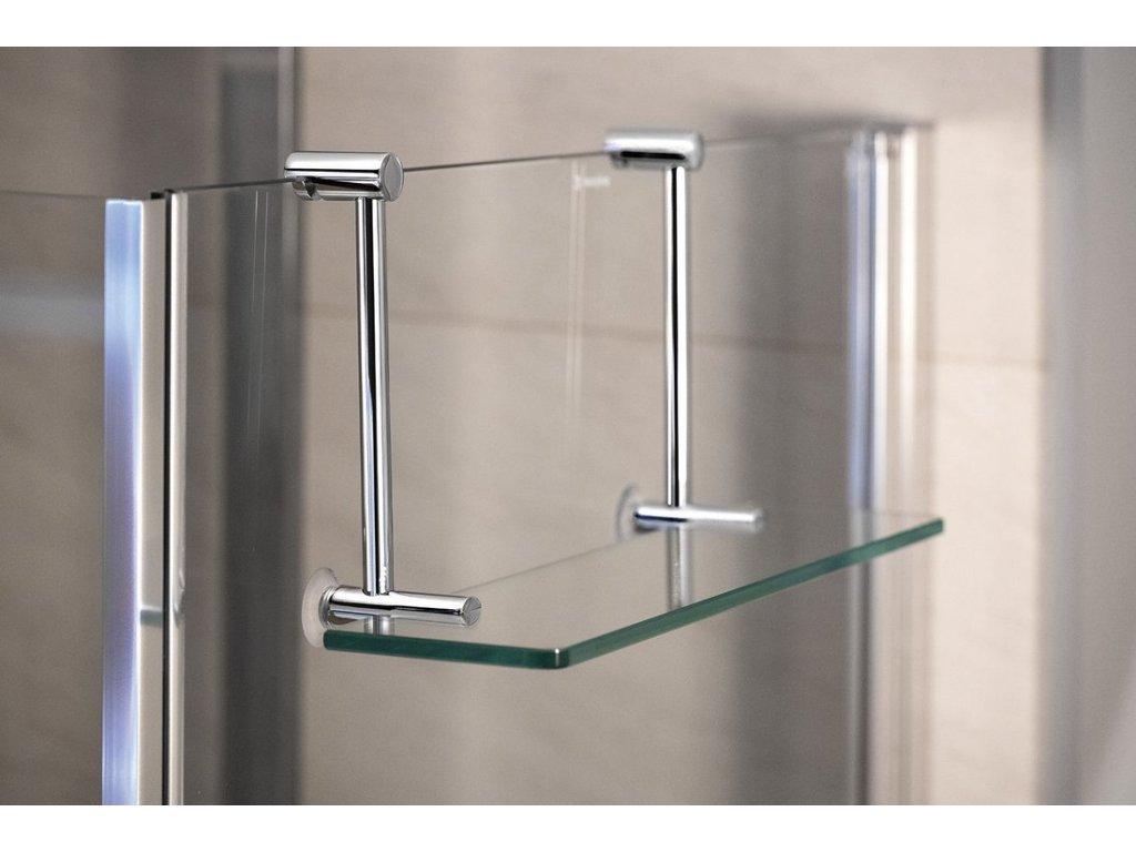 Závěsná skleněná polička na sprchovou zástěnu 400x180x125mm, chrom