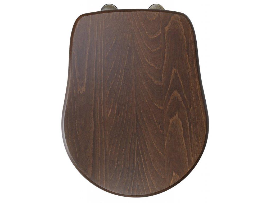 RETRO WC sedátko, dřevo masiv, ořech/bronz