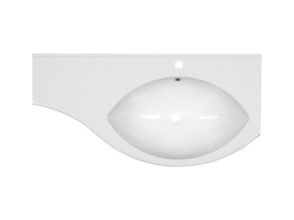 ISOBEL umyvadlo s odkládací plochou vlevo 110x55cm, litý mramor, bílá