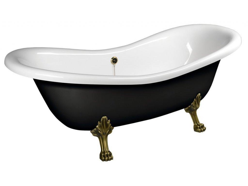 CHARLESTON volně stojící vana 188x80x71cm, nohy bronz, černá/bílá