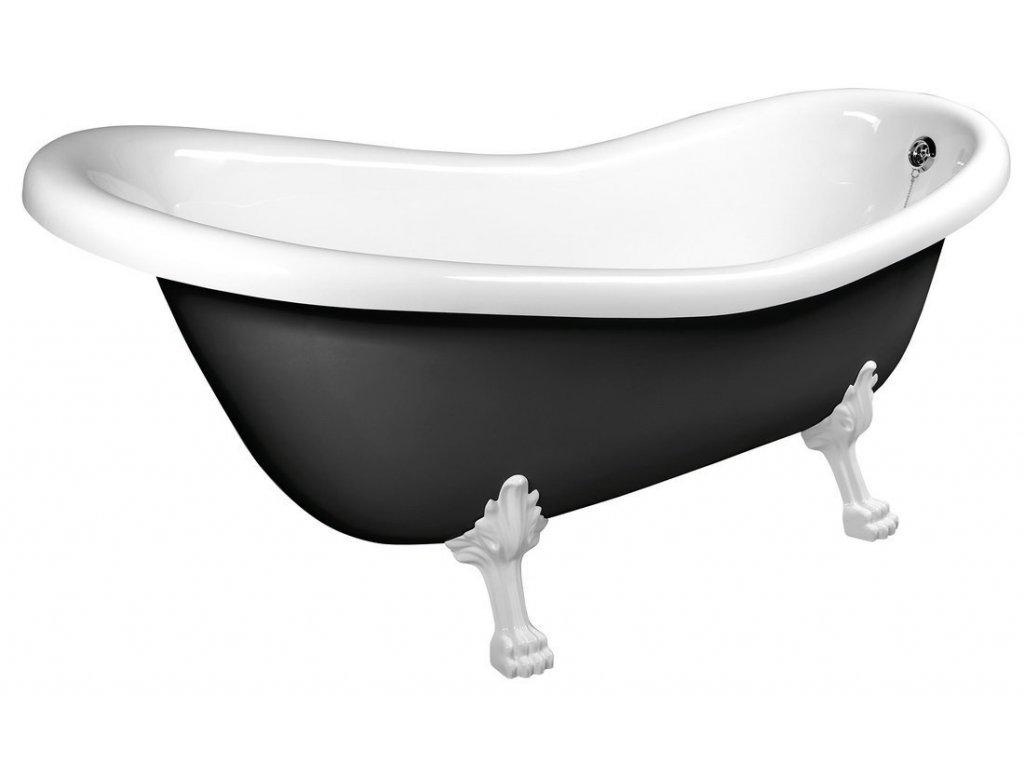 RETRO volně stojící vana 158x73x72cm, nohy bílé, černá/bílá