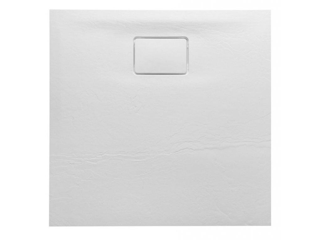 ACORA vanička z litého mramoru, čtverec 80x80x3,5cm, bílá, dekor kámen