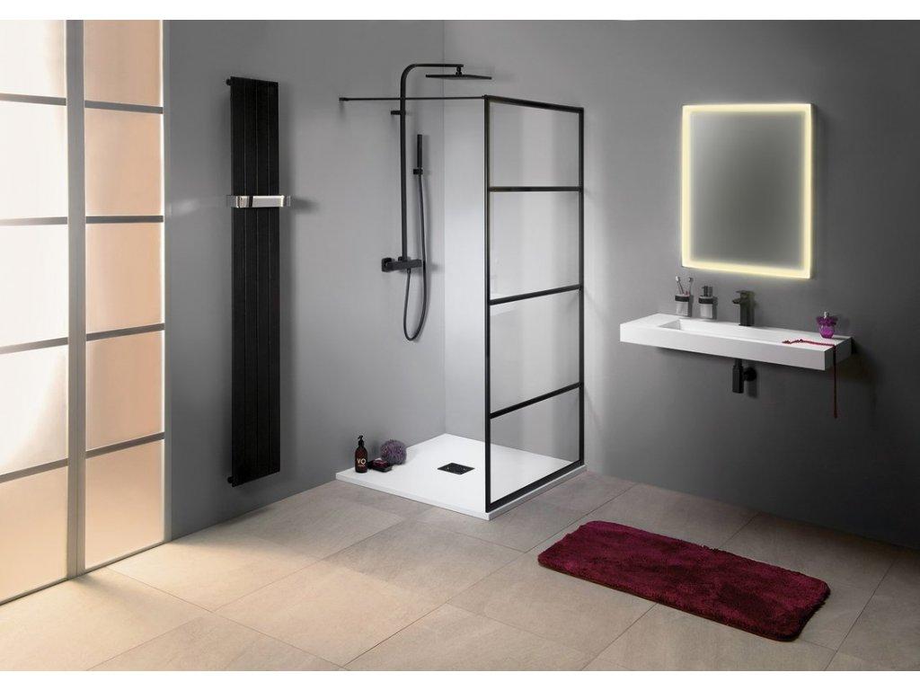 CURE BLACK sprchová zástěna 800mm, černá mat