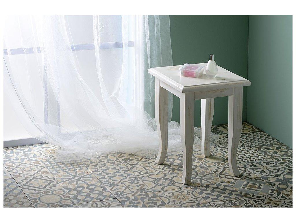 RETRO stolička 33x45x33cm, starobílá
