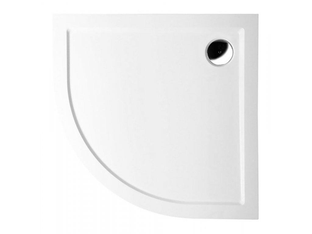 SERA LIGHT sprchová vanička z litého mramoru, čtvrtkruh 90x90x3cm, R550, bílá
