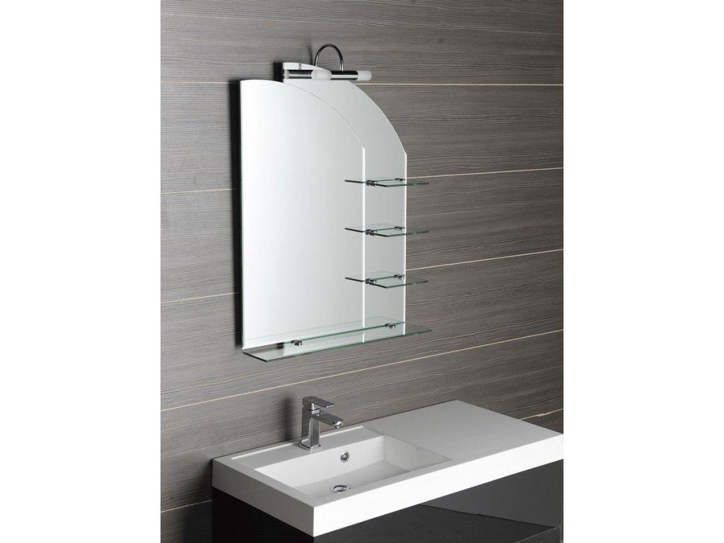 WEGA zrcadlo 65x90cm, zaoblené, s policemi