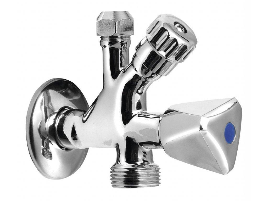 Kombinovaný ventil 1/2'x3/4'x3/8', chrom