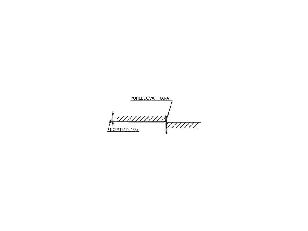 Spádová lišta, pravá, výška 10 mm, délka 1000 mm, nerez