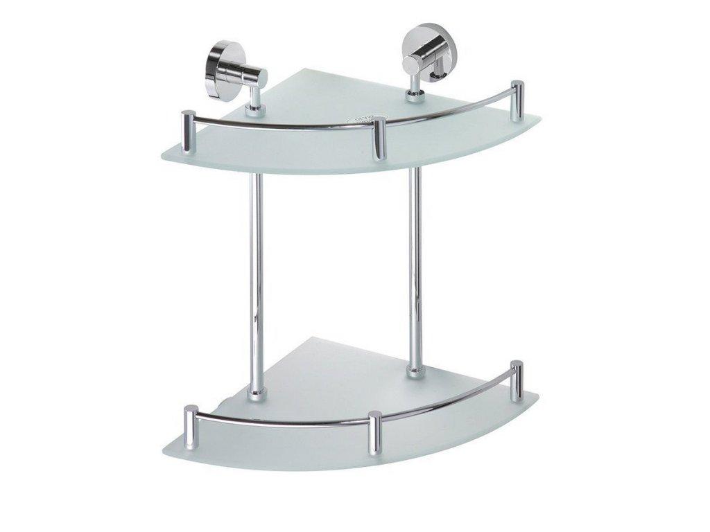 X-ROUND E skl. polička rohová dvojitá s hrazdou 270x390x270mm, chrom