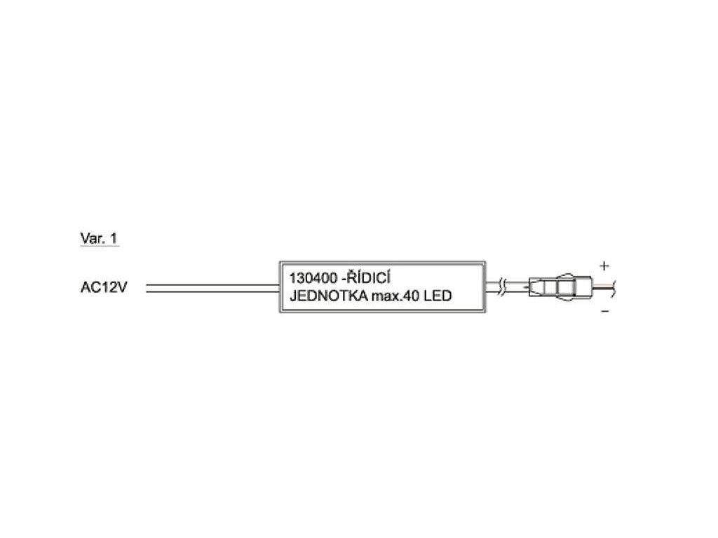 Set řídící jednotky (max. 40 LED) včetně transformátoru a 10m vodiče