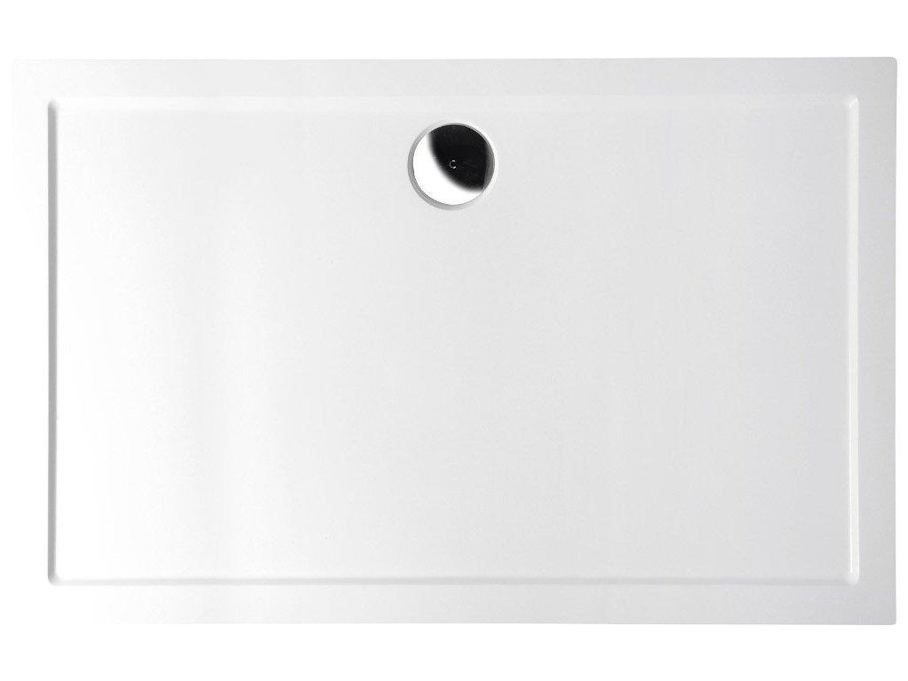 KARIA sprchová vanička z litého mramoru, obdélník 100x80x4cm, bílá