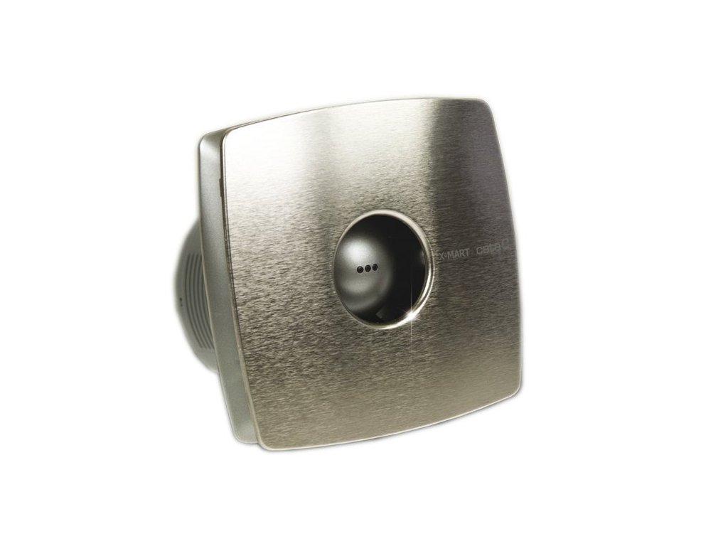X-MART 12H koupelnový ventilátor axiální s automatem, 20W, potrubí 120mm, nerez