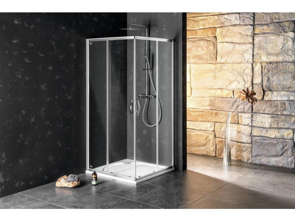 SIGMA SIMPLY čtvercový sprchový kout 900x900 mm, rohový vstup, čiré sklo
