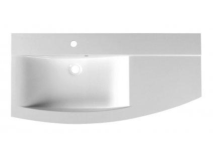 ARAS umyvadlo 105,2x50,5cm, litý mramor, levé, bílá