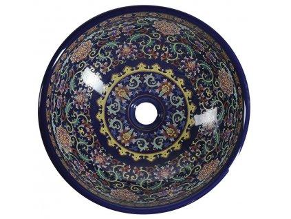PRIORI keramické umyvadlo, průměr 41 cm, 15,5cm, fialová s ornamenty