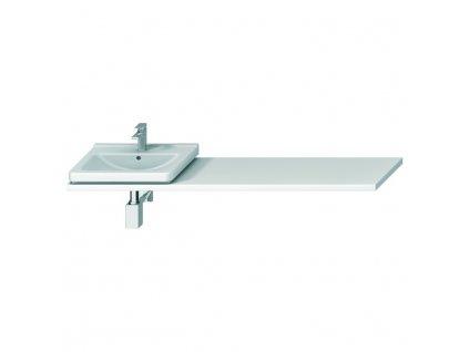 Atypická umyvadlová deska 65-160 cm, pro umyvadlo CUBITO 45-75 cm, 1 výřez pro sifon vlevo/vpravo, bez podpěr