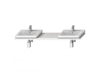 Atypická umyvadlová deska 135-220 cm, pro umyvadlo CUBITO 45-75 cm, 2 výřezy pro sifon vlevo/vpravo, bez podpěr