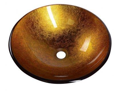 AGO skleněné umyvadlo průměr 42 cm, zlatě oranžová