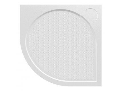 ARCA sprchová vanička z litého mramoru, čtvrtkruh, 80x80x3 cm, R550
