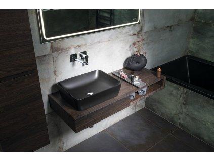 SAND keramické umyvadlo na desku 50x38 cm, černá mat