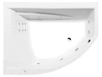 TANDEM L HYDRO hydromasážní vana, 170x130x50cm, bílá