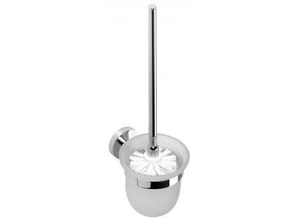 X-ROUND WC štětka nástěnná, miska mléčné sklo, chrom