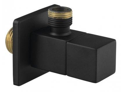 Rohový ventil s rozetou, hranatý, 1/2'x 3/8' , černá mat