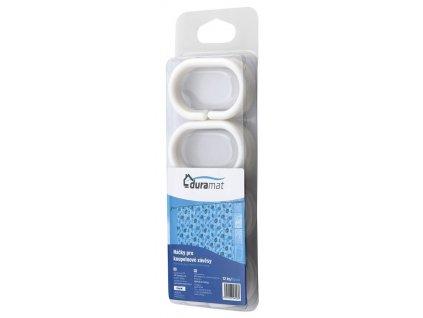 Kroužky na sprchový závěs 12 ks, plast, bílá