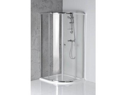 ARLETA čtvrtkruhová sprchová zástěna 800x800mm, čiré sklo
