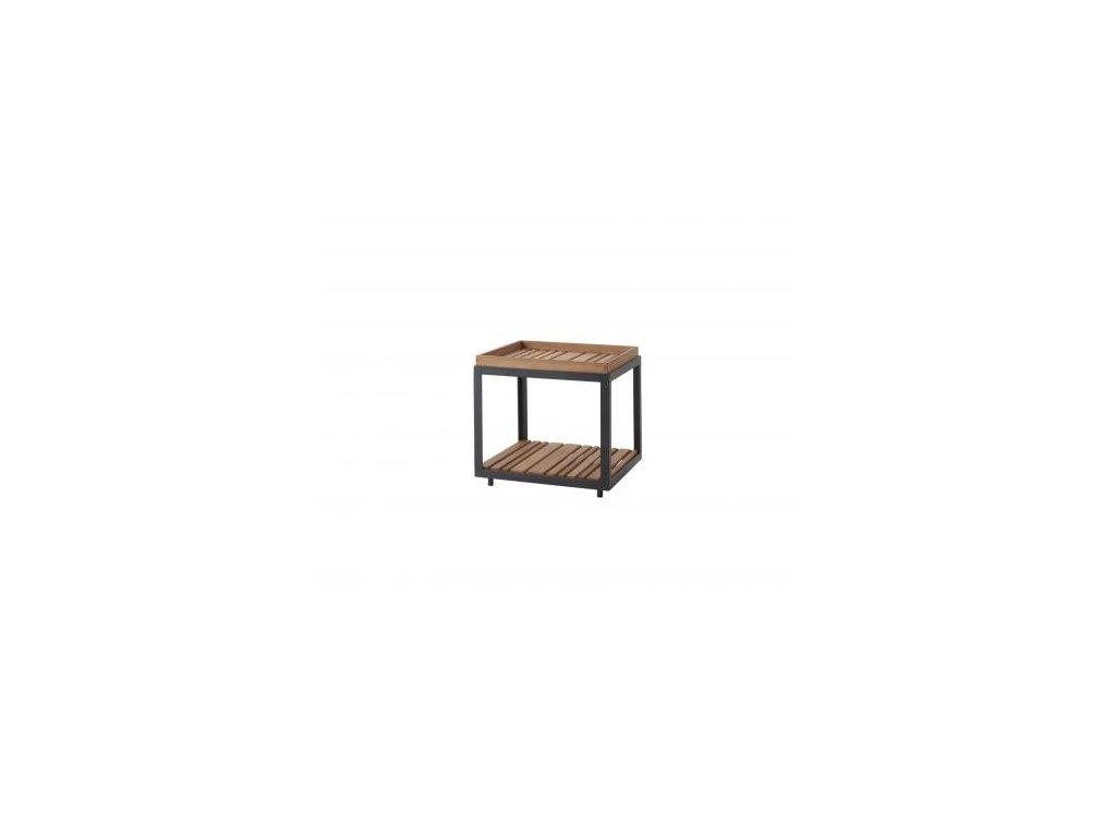 Cane-line Odkládací stolek Level, malý - lávově šedá/přírodní
