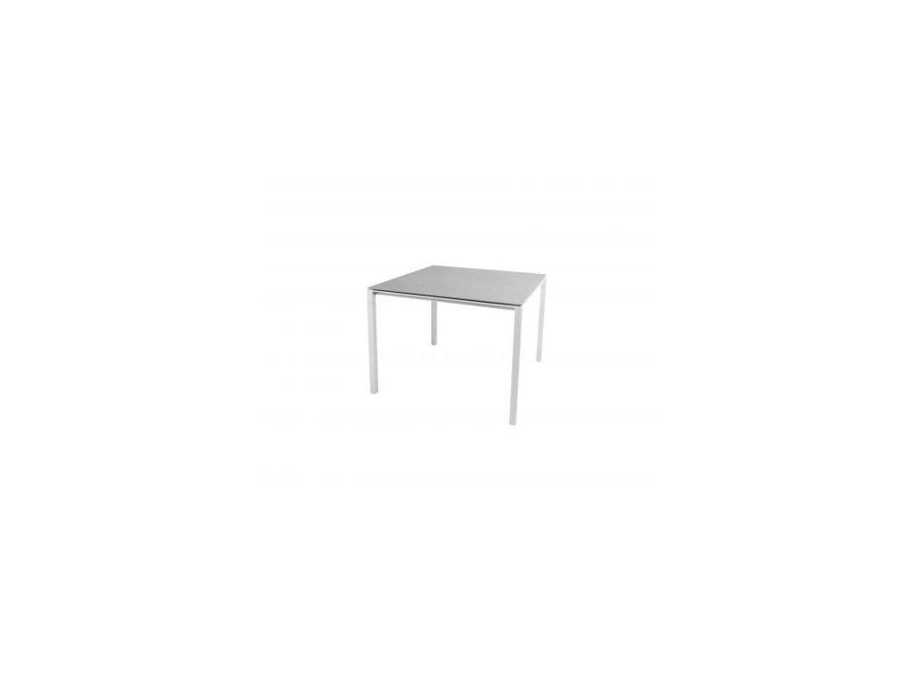 Cane-line Jídelní stůl Pure 100x100 cm - bílá, betonově šedá