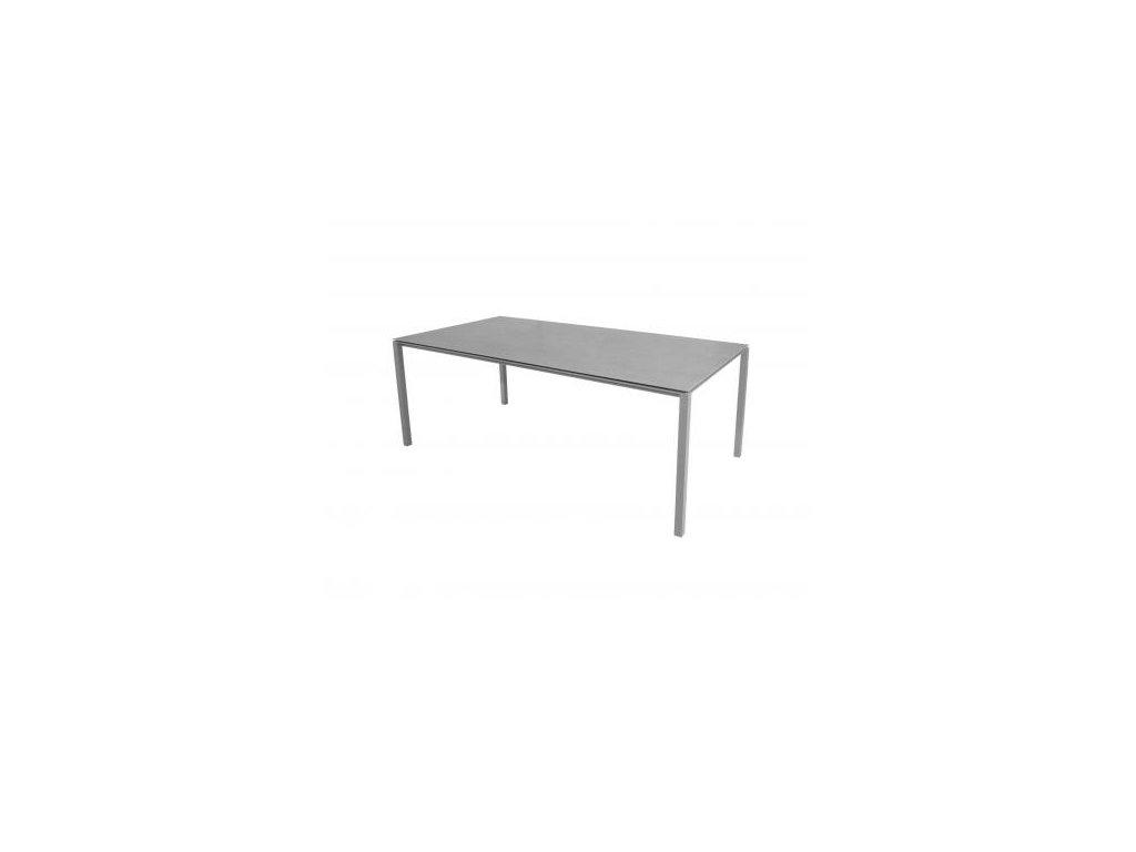 Cane-line Jídelní stůl Pure 200x100 cm - světle šedá, betonově šedá