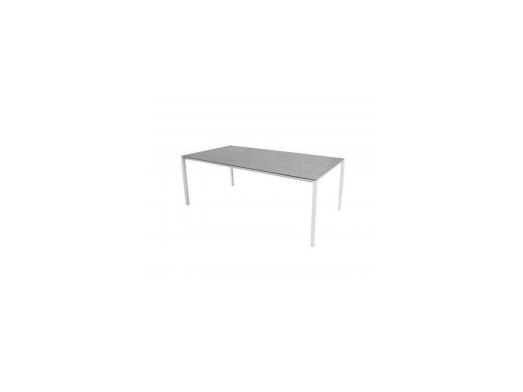Cane-line Jídelní stůl Pure 200x100 cm - bílá, betonově šedá