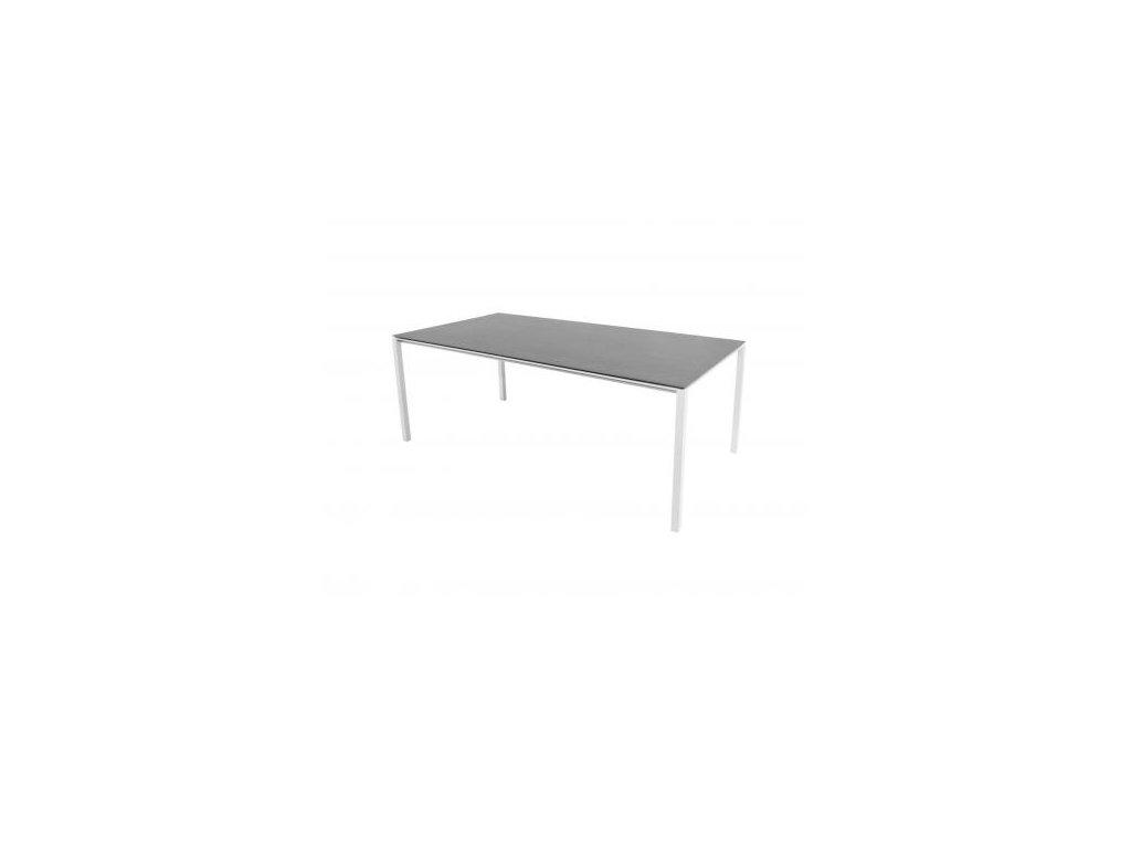 Cane-line Jídelní stůl Pure 200x100 cm - bílá, čedičově šedá