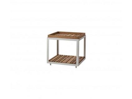 Cane-line Odkládací stolek Level, malý - bílá/přírodní